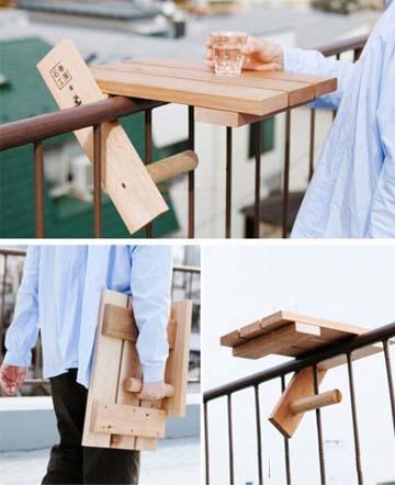 简易板桌可折叠,专治铁栏杆阳台!