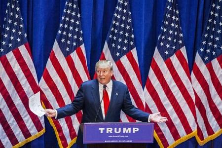 2015 年 6 月 16 日, 川普 在 纽约川普 大厦 正式 宣布 参选 总统. (Christopher Gregory / Getty Images)