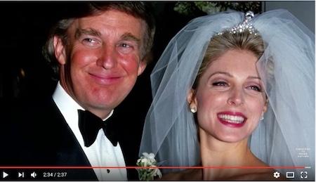 川普与第二任妻子玛拉·梅普尔斯(MARLA MAPLES)(youtube视频截图)