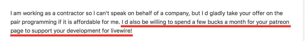来自Livewire用户的电子邮件,要求在Patreon上提供支持