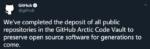 Github将你的代码打包到北极封存千年